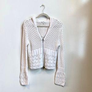 CAbi   White Crochet Sweater #821
